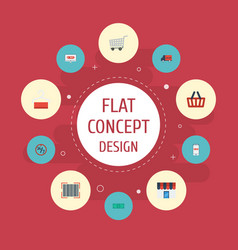Flat icons dress stand shopping support vector