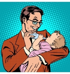 Happy father feeding newborn baby with milk vector