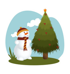 Happy merry christmas snowman card vector