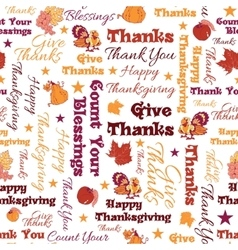 Happy Thanksgiving Text Seamless Pattern vector image