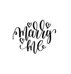Marry me hand lettering romantic quote to vector