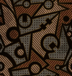 Mechanic geometric seamless pattern with rust vector