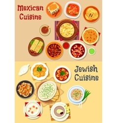 Mexican and jewish cuisine dinner icon vector
