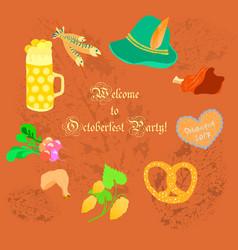 oktoberfest leaflet with symbolic objects vector image