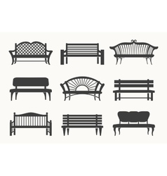 Outdoor benches icons vector