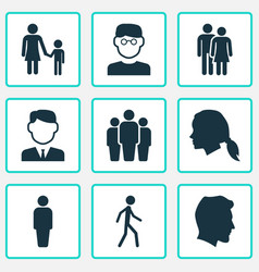 Person icons set collection of jogging member vector