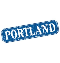 Portland blue square grunge retro style sign vector