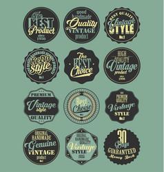 Premium quality retro badges collection blue vector