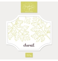 Product sticker with hand drawn chervil leaves vector image