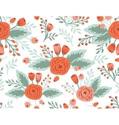 Seamless floral pattern roses and tulips vintage vector