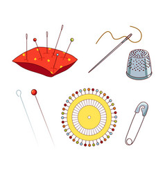 Sewing needles and pins vector