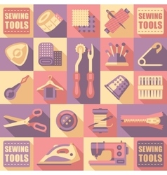 Sewing Tailoring and Needlework Decorative Icons vector image