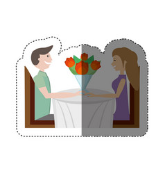 sitting dating romantic lovely shadow vector image