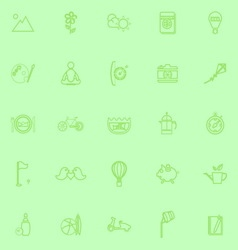 Slow life activity line icons on green background vector