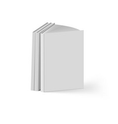 Stack of gray books on white background mockup vector