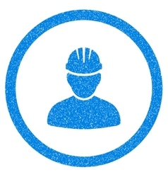 Worker person rounded icon rubber stamp vector
