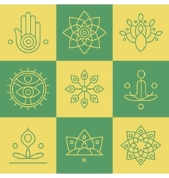 yoga icons and line badges graphic design vector image