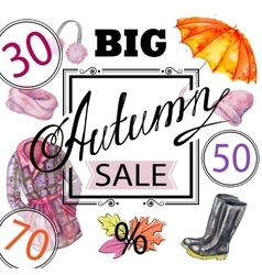 Autumn sale shopping advertising vector