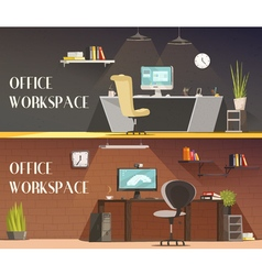 Office workspace 2 horizontal cartoon banners vector