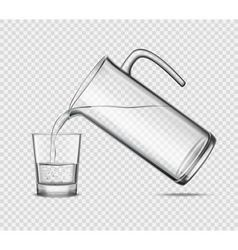 Pouring water in glass on transparent background vector