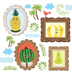 Portrait of the fruits vector