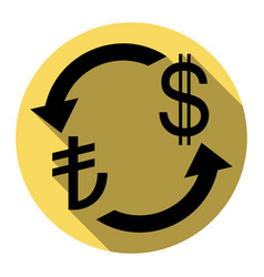 Currency exchange sign turkey lira and us dollar vector