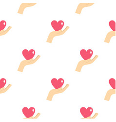 hand holding a pink heart pattern seamless vector image