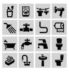 bathroom icons vector image