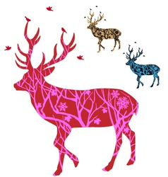Christmas deer with birds vector image