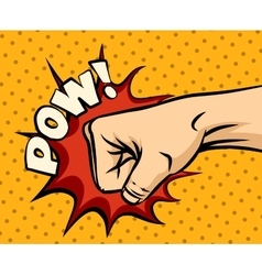 Fist hitting fist punching in pop art style vector