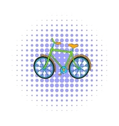 Green bike icon comics style vector