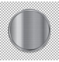 Tech metallic texture circle button vector