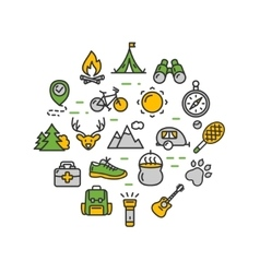 Camping tourism hiking round design template thin vector