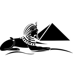 Egyptian sphinx with pyramid vector
