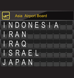 Asia country airport board information vector