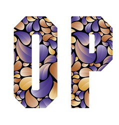 Beautiful floral alphabet letters O and P vector image