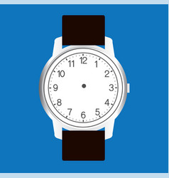 blank hand watch face on blue background vector image