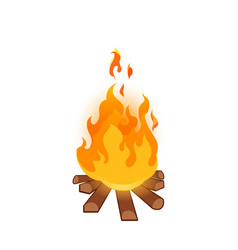 burning bonfire on white background vector image