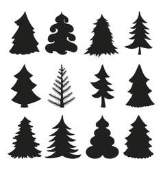 Christmas tree silhouettesBlack vector image