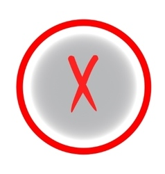 Cross red sign in gray circle vector
