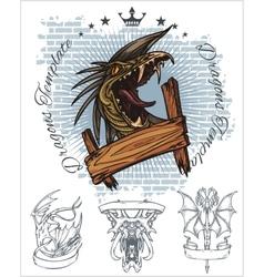 Dragon and ribbon - set Stock vector image vector image