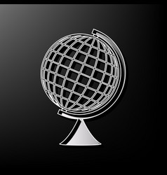 Earth globe sign gray 3d printed icon on vector