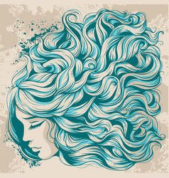 Face girl with long hair beautiful hairstyle with vector