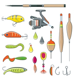 Fishing Equipment and Tools vector image vector image