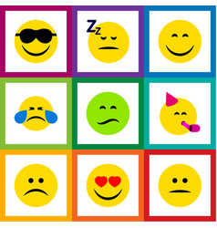 Flat icon emoji set of love frown smile and vector