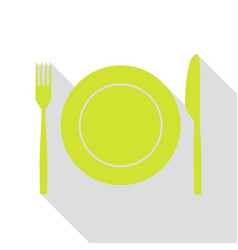 Fork tape and knife sign pear icon with flat vector