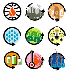 Global warming icons vector