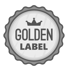 Golden label icon gray monochrome style vector