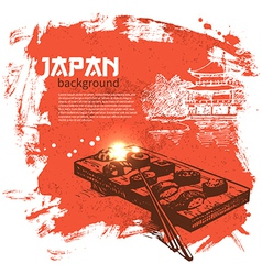 Hand drawn vintage Japanese sushi background vector image vector image