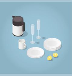 isometric kitchenware vector image vector image